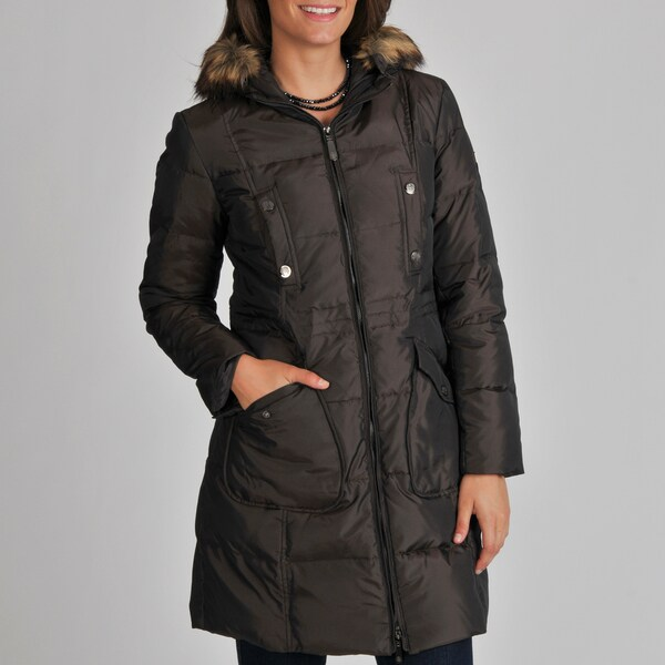 Vince Camuto Women S Brown Down Filled Zip Up Coat Free
