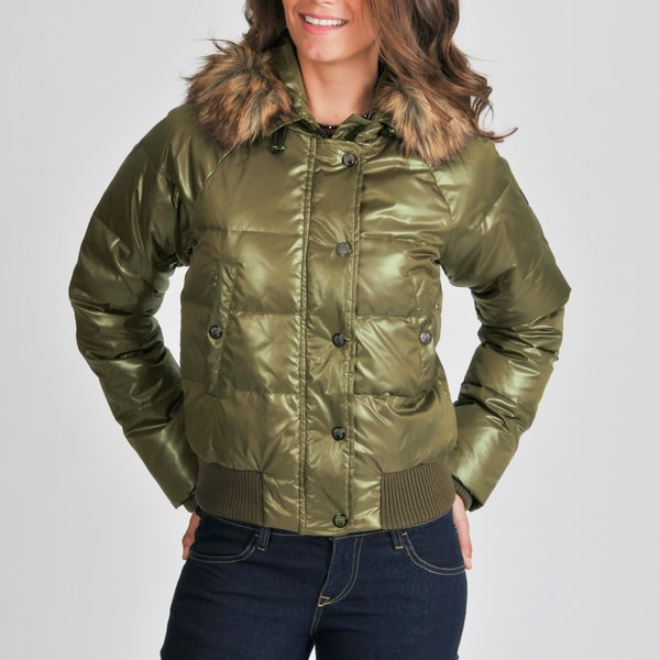 Vince Camuto Women's Green Down-filled Bomber Jacket