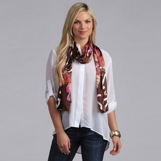 Pink and Brown Butterfly Print Scarf