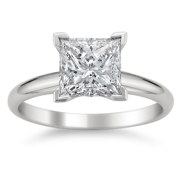 Montebello 14k White Gold 3ct TDW Princess Diamond Solitaire Ring (J, I1)