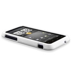 INSTEN White Rubber Phone Case Cover/ Screen Protector/ Headset for HTC EVO Design 4G