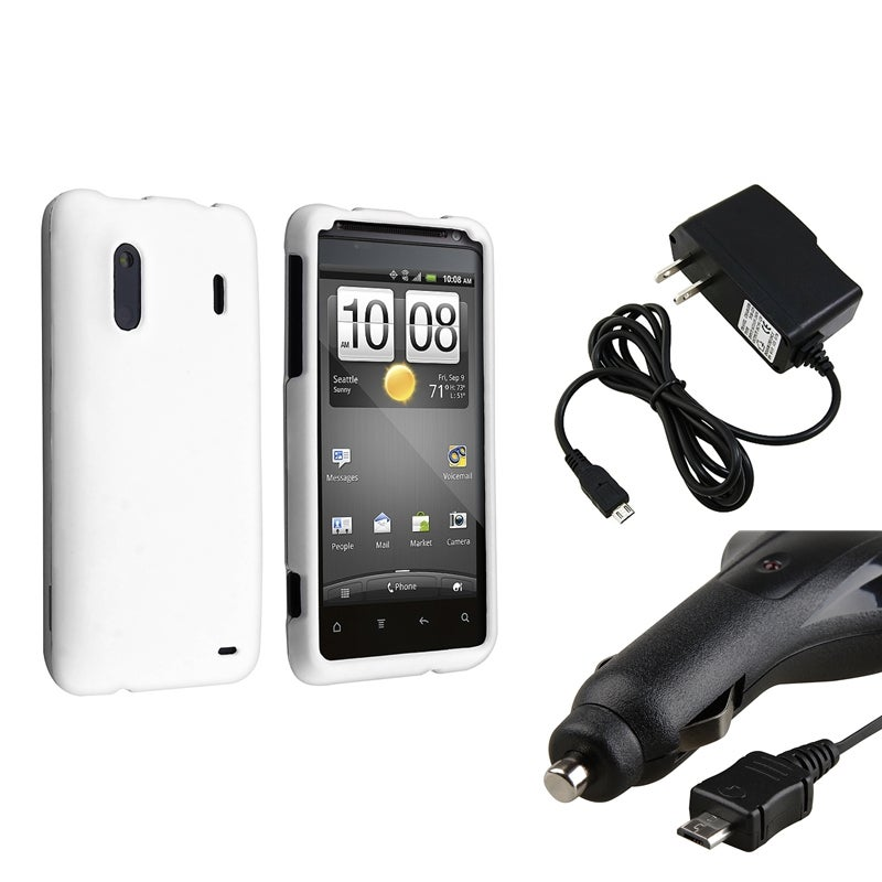INSTEN White Snap-On Rubber Case Cover/ Travel/ Car Charger for HTC EVO Design 4G