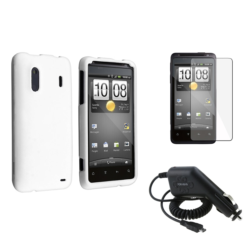 INSTEN White Case Cover/ Screen Protector/ Car Charger for HTC EVO Design 4G