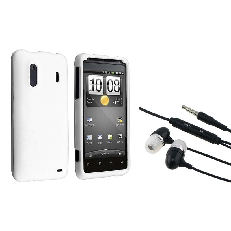 INSTEN White Rubber Phone Case Cover/ Headset for HTC EVO Design 4G