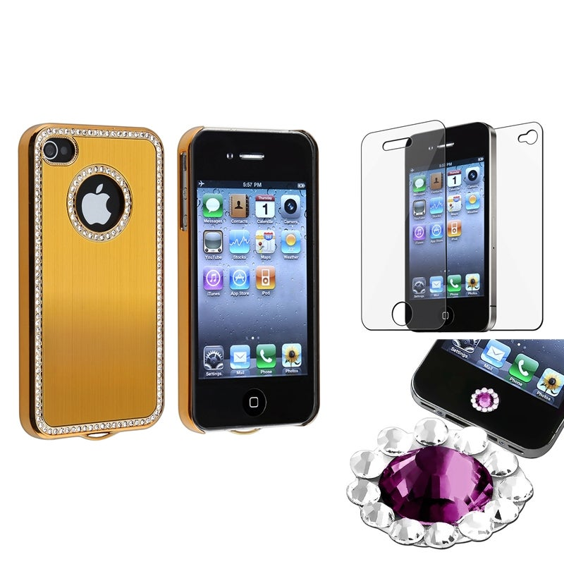 INSTEN Bling Gold Phone Case Cover/ Purple Diamond Sticker/ Protector for Apple iPhone 4/ 4S
