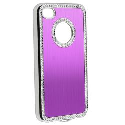 Bling Purple Case/Purple Diamond Sticker/Protector for Apple iPhone 4/4S - Thumbnail 1