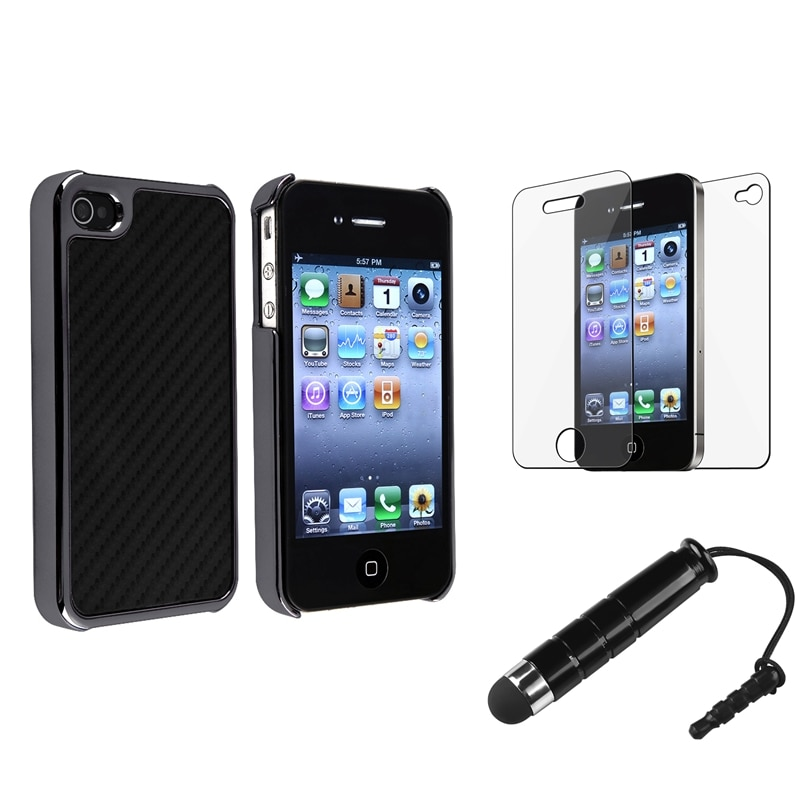 Black Carbon Fiber Case/ Mini Stylus/ Protector for Apple iPhone 4/ 4S