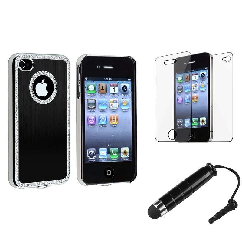 Black Bling Case/ Mini Stylus/ Protector for Apple iPhone 4/ 4S