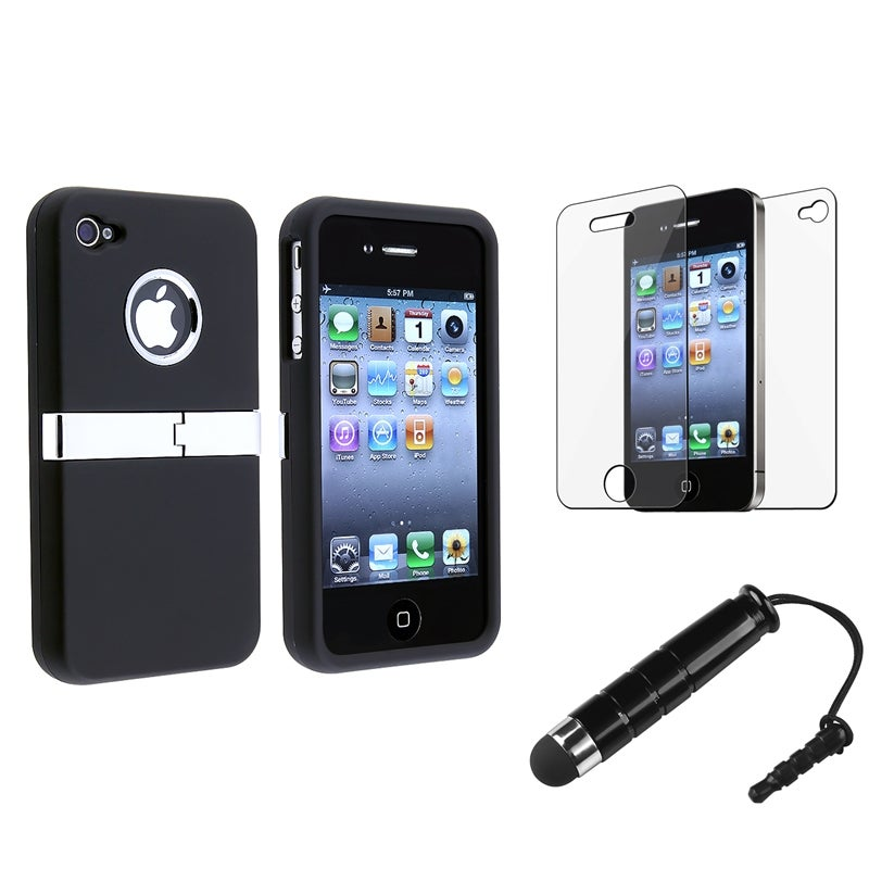 INSTEN Black Chrome Phone Case Cover/ Mini Stylus/ Protector for Apple iPhone 4/ 4S