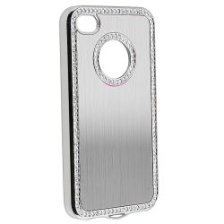 Silver Bling Case/ Purple Diamond Sticker for Apple iPhone 4/ 4S