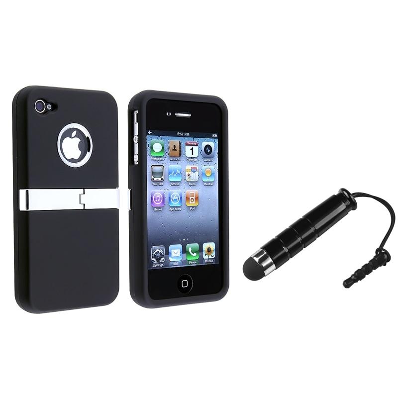 INSTEN Black Chrome Phone Case Cover/ Mini Stylus for Apple iPhone 4/ 4S