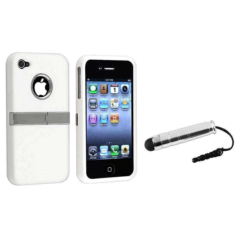 INSTEN White Chrome Phone Case Cover/ Mini Stylus for Apple iPhone 4/ 4S