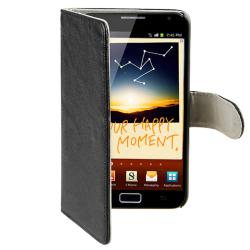 Black Leather Case/ LCD Protector for Samsung Galaxy Note N7000 - Thumbnail 2