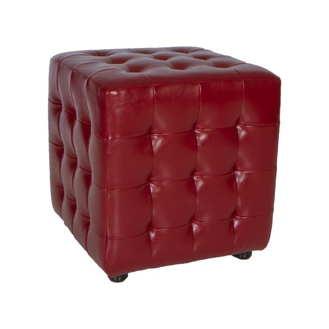 Cortesi Home Izzo Burgundy Red Tufted Ottoman