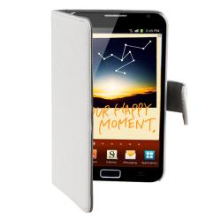 White Leather Case/Three Screen Protectors for Samsung Galaxy Note N7000