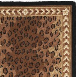 Safavieh Hand-hooked Chelsea Leopard Brown Wool Rug (2'6 x 12') - Thumbnail 1