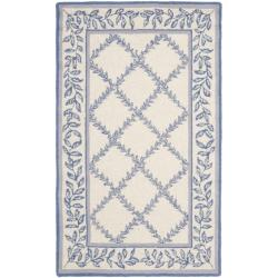 Safavieh Hand-hooked Trellis Ivory/ Light Blue Wool Rug (2'6 x 4')