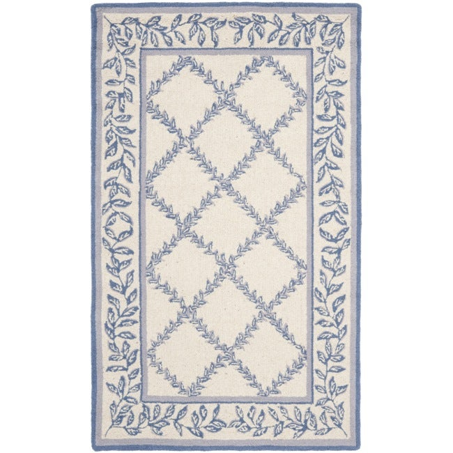 Safavieh Hand-hooked Trellis Ivory/ Light Blue Wool Rug (2'9 x 4'9)