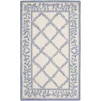Safavieh Hand-hooked Trellis Ivory/ Light Blue Wool Rug (2'9 x 4'9) - 2'9 x 4'9