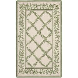 Safavieh Hand-hooked Trellis Ivory/ Light Green Wool Rug (2'6 x 4')