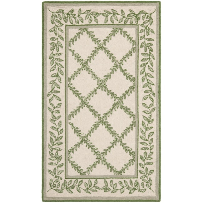 Safavieh Hand-hooked Trellis Ivory/ Light Green Wool Rug (2'9 x 4'9)