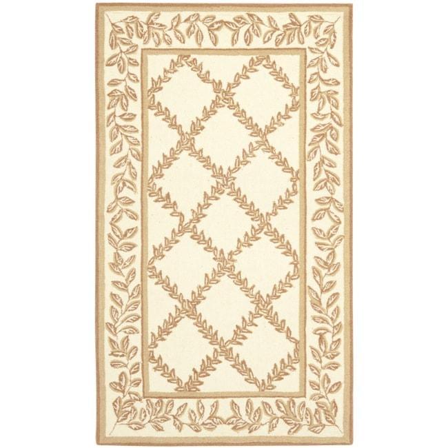 Safavieh Hand-hooked Trellis Ivory/ Beige Wool Rug (2'6 x 4')