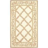 Safavieh Hand-hooked Trellis Ivory/ Beige Wool Rug - 2'6 x 4'