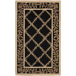 "Safavieh Hand-hooked Trellis Black/ Beige Wool Rug - 2'6"" x 4'"