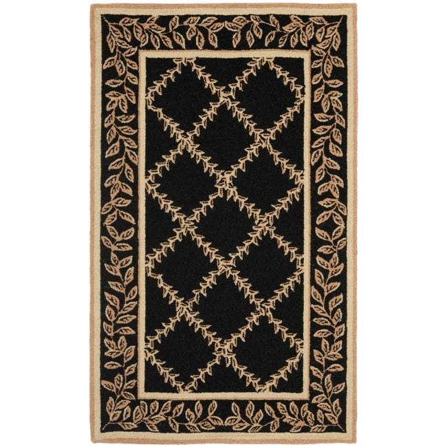 Shop Safavieh Hand Hooked Trellis Black Beige Wool Rug