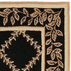 Safavieh Hand-hooked Trellis Black/ Beige Wool Rug (2'9 x 4'9) - Thumbnail 1