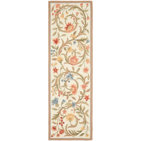"Safavieh Hand-hooked Garden Scrolls Ivory Wool Rug - 2'6"" x 12'"