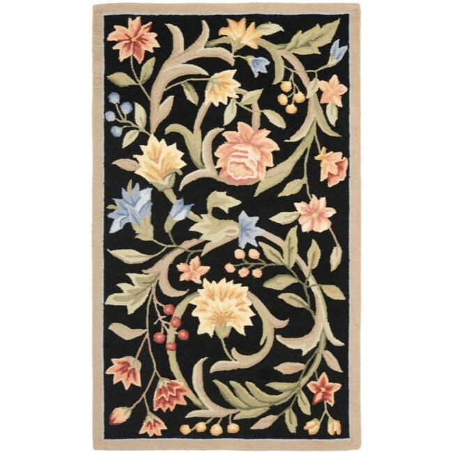 Safavieh Hand-hooked Garden Scrolls Black Wool Rug (2'9 x 4'9)