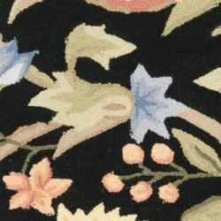Safavieh Hand-hooked Garden Scrolls Black Wool Rug (2'9 x 4'9) - Thumbnail 2