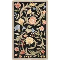 Safavieh Hand-hooked Garden Scrolls Black Wool Rug - 2'9 x 4'9