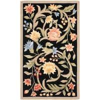 "Safavieh Hand-hooked Garden Scrolls Black Wool Rug - 2'-9"" x 4'-9"""