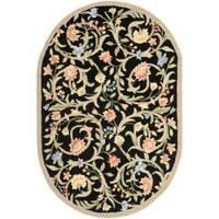 Safavieh Hand-hooked Garden Scrolls Black Wool Rug (4'6 x 6'6 Oval) - 4'6 x 6'6