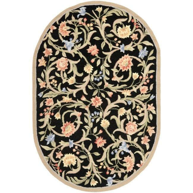Safavieh Hand-hooked Garden Scrolls Black Wool Rug (7'6 x 9'6 Oval)