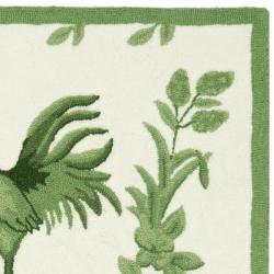 Safavieh Hand-hooked Hens Ivory/ Green Wool Rug (2'6 x 8')