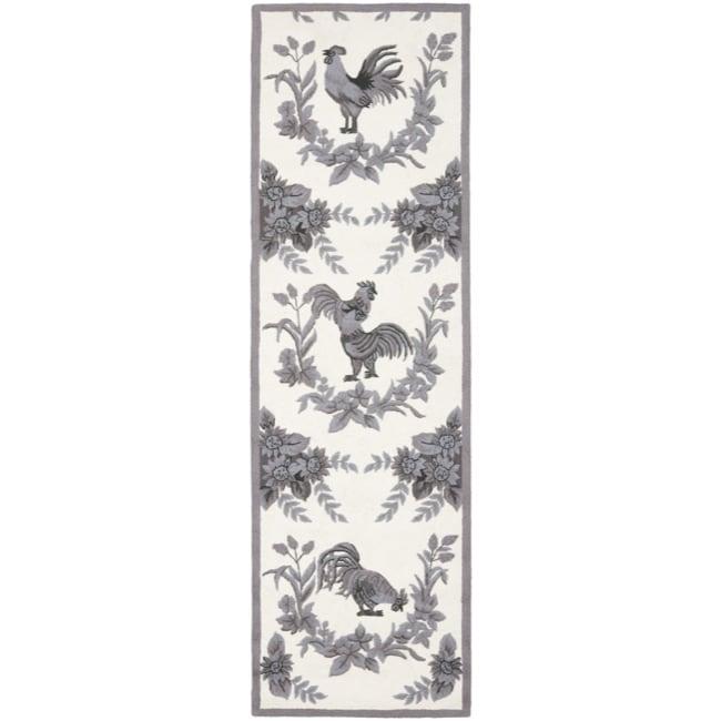 Safavieh Hand-hooked Hens Grey Wool Rug (2'6 x 12')