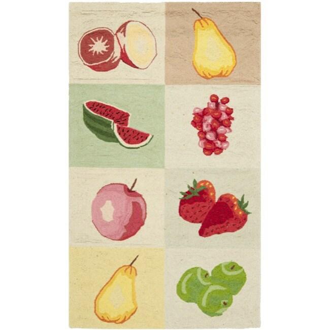 Safavieh Hand-hooked Fruit Panels Ivory Wool Rug (2'9 x 4'9)