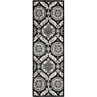 """Safavieh Hand-hooked Chelsea Heritage Black Wool Rug - 2'6"""" x 12'"""