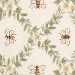 Safavieh Hand-hooked Bumblebee Ivory Wool Rug (2'6 x 4') - Thumbnail 2