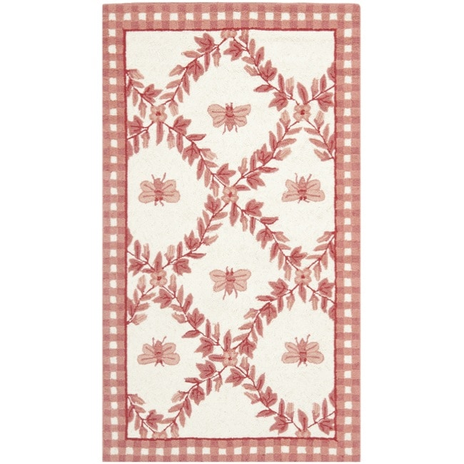 Safavieh Hand-hooked Bumblebee Ivory/ Rose Wool Rug (2'9 x 4'9) - Thumbnail 0