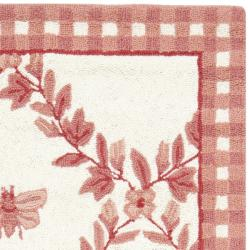 Safavieh Hand-hooked Bumblebee Ivory/ Rose Wool Rug (2'9 x 4'9) - Thumbnail 1