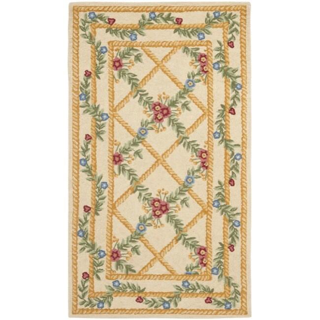 Safavieh Hand-hooked Trellis Ivory Wool Rug (2'9 x 4'9)