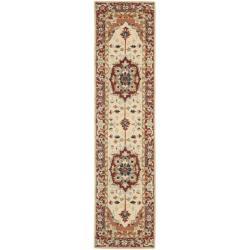 Safavieh Hand-hooked Heriz Red/ Ivory Wool Rug (2'6 x 12')