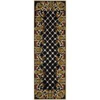 """Safavieh Hand-hooked Chelsea Pineapples Black/ Multi Wool Rug - 2'6"""" x 8'"""