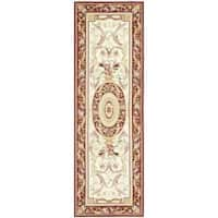 "Safavieh Hand-hooked Aubusson Ivory/ Burgundy Wool Rug - 2'6"" x 12'"
