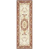 "Safavieh Hand-hooked Aubusson Ivory/ Burgundy Wool Rug - 2'6"" x 6'"