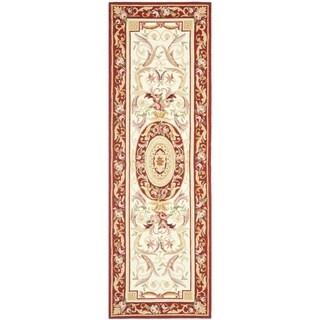 "Safavieh Hand-hooked Aubusson Ivory/ Burgundy Wool Rug - 2'6"" x 6'"